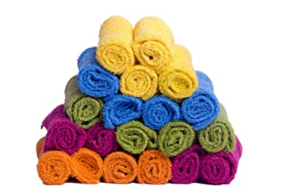 Skumars Love Touch Solid 20 Piece 300 GSM Cotton Face Towel - Multicolour