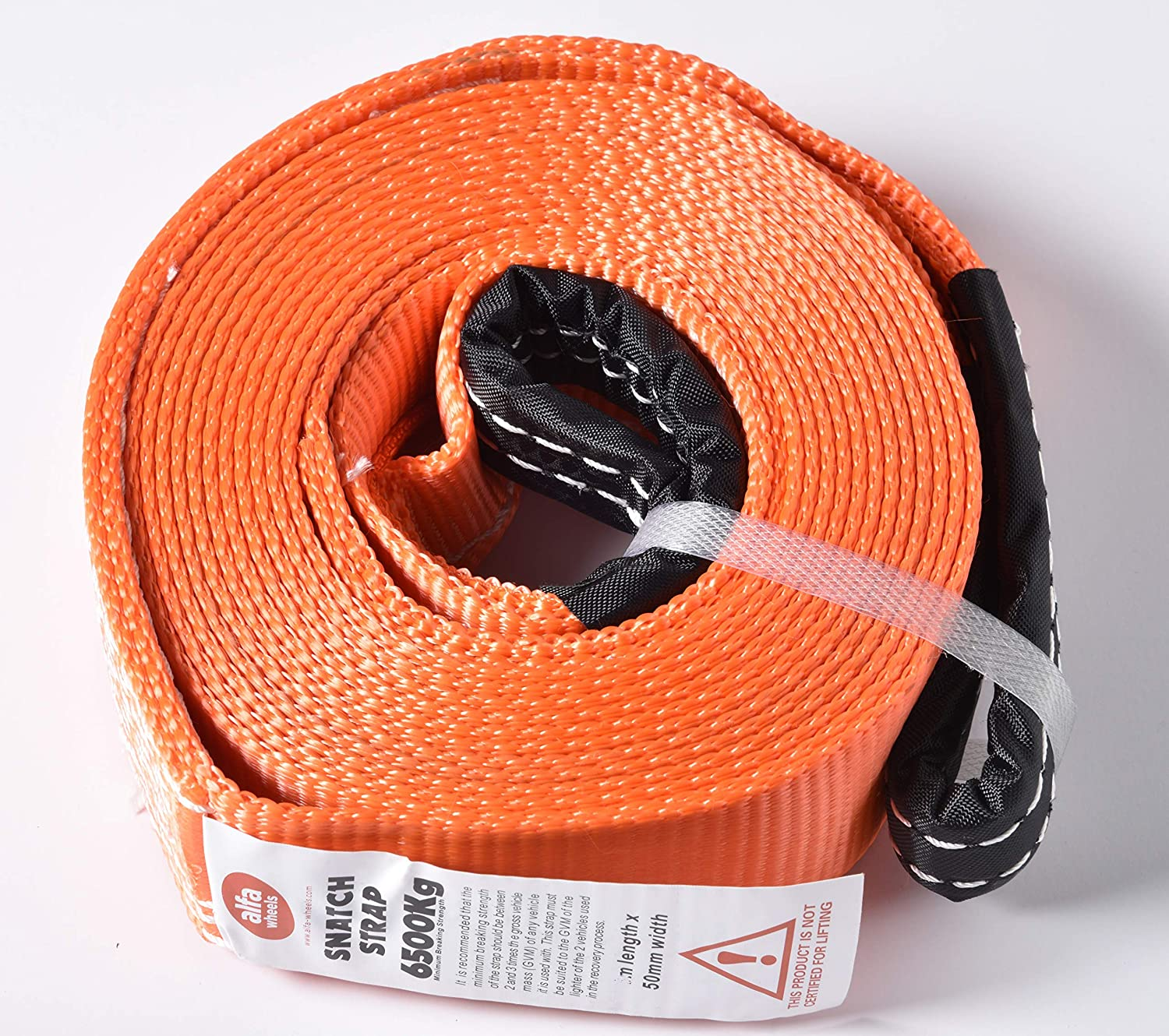 """HiGear 2"""" X 30', 6.5 Ton 2 Inch X 30 Ft. Polyester Tow Strap Rope 2 Loops 14,000lb Towing Recovery 2x30 by Alfa Wheels (Orange, 2in 30ft 2x30)"""