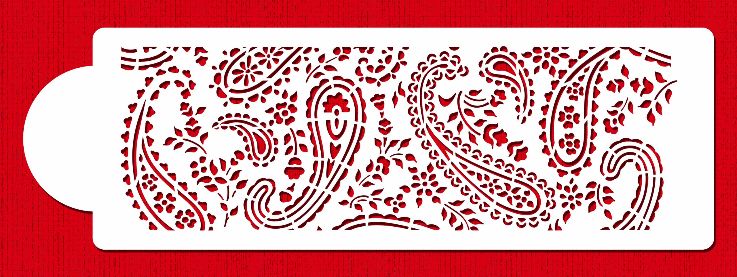 Designer Stencils C465 Paisley Cake Stencil Side, Beige/semi-transparent