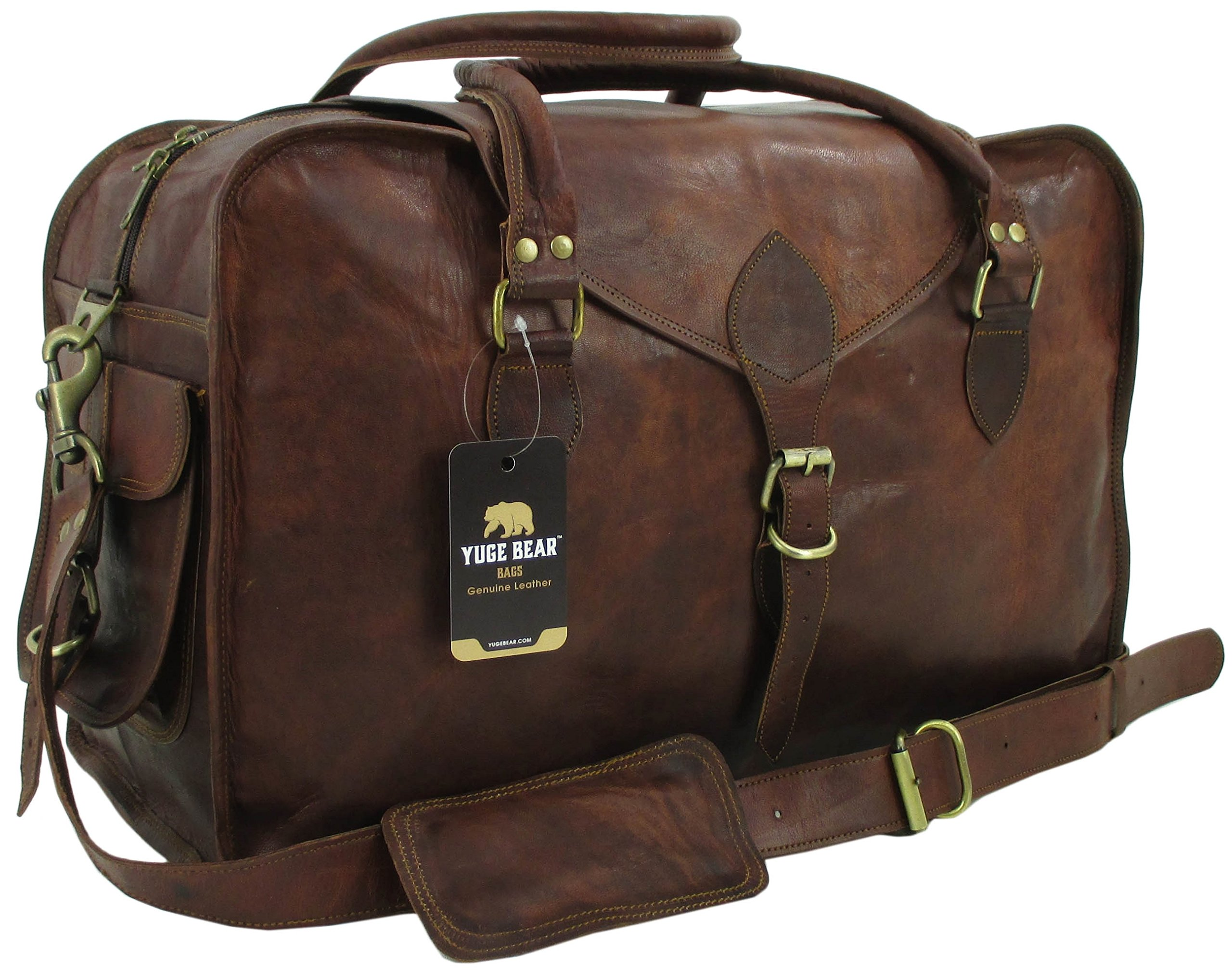 Yuge Bear 21'' C50 Vintage Carry On Travel Duffel Shoulder Suitcase by Genuine Leather Bag Shop