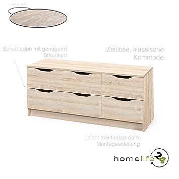 Kommode modern eiche  Kommode 6 Schubladen Sonoma Eiche schlicht funktionell modern ...