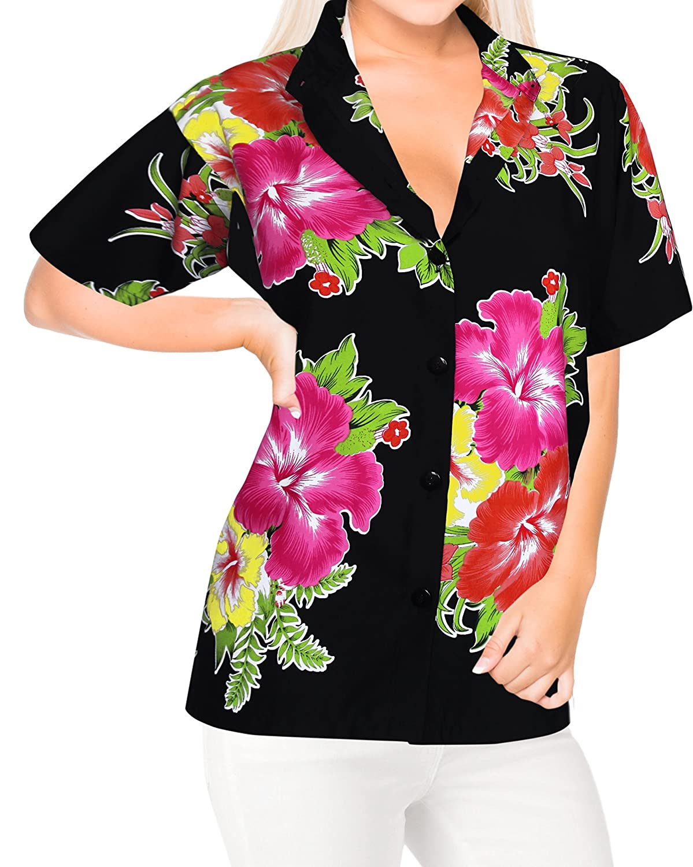 LA LEELA Taste nach unten Bluse Oben Hawaii-Hemd mit kurzen �rmeln Bademoden Kragen Damen verschleiern LA LEELA Taste nach unten Bluse Oben Hawaii-Hemd mit kurzen �rmeln Bademoden Kragen Damen verschleiern