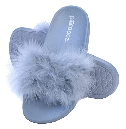 cc0711a796b7 Pupeez Girls Open Toe Flip Flop Slide Slippers with Soft Faux Fur Top and  Hard Sole