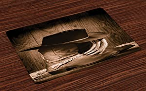 Ambesonne Western Place Mats Set of 4, Wild West Themed Cowboy Hat and Old Ranching Rope on Wooden Display Rodeo Cowboy Style, Washable Fabric Placemats for Dining Table, Standard Size, Brown
