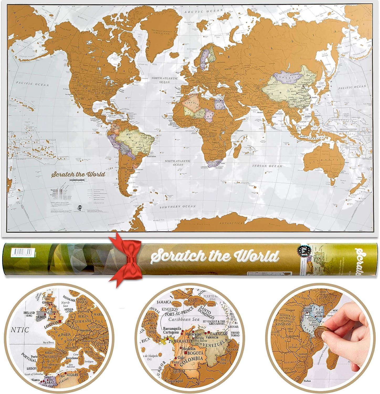 Póster del mapa mundi de rascar con tubo de regalo - extragrande - 84 x 59 cm - Maps International - 50 años haciendo mapas - Detalles cartográficos con el país y los países limítrofes