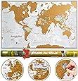 Mapa świata do zdrapywania z tubą prezentową - Rozmiar XL - 84 x 59 cm - Maps International - ponad 50 lat w produkcji map - szczegóły kartograficzne z granicami krajów i państw