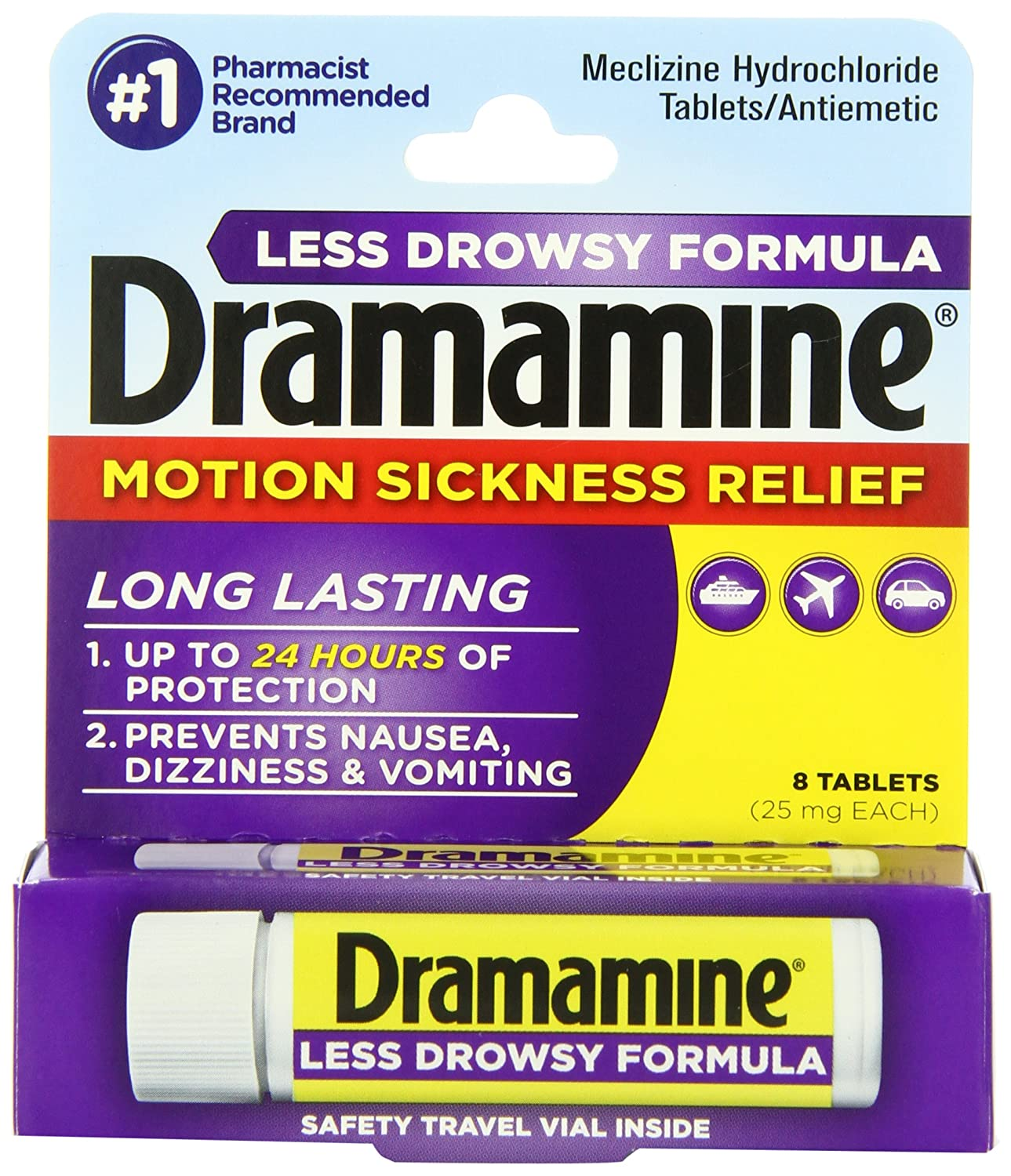 Dramamine Motion Sickness Relief Less Drowsey Formula, 8 Count