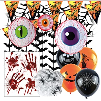 Halloween decorations indoor packs halloween balloons bunting hanging decorations window stickers