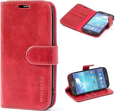 Mulbess Funda Samsung Galaxy S4 [Libro Caso Cubierta] [Vintage de Billetera Cuero de la PU] con Tapa Magnética Carcasa para Samsung Galaxy S4 Case, Vino Rojo: Amazon.es: Electrónica