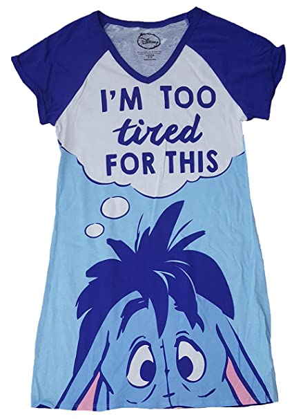 42c89d644d Disney Eeyore I m Too Tired For This Blue Nightgown Long Sleep Shirt - 2X