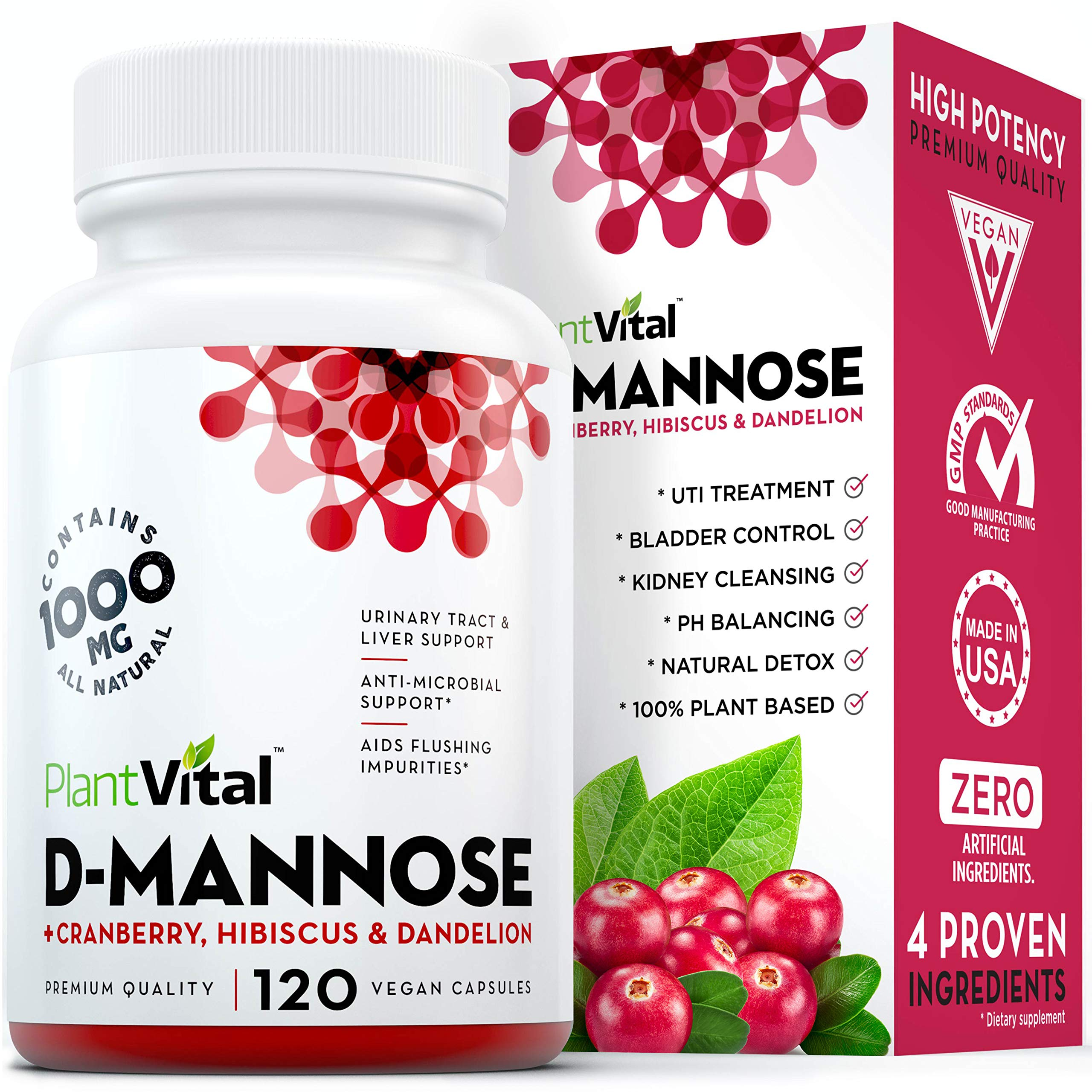 New! D-Mannose 1000mg w Cranberry [HIGH Potency] Urinary Tract Treatment, Bladder Control, Kidney Cleanse & UTI Support. 100% Natural Detox. Plus Hibiscus & Dandelion. 2 Months Supply by Plantvital
