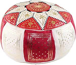 GRAN Red and Beige Handmade Leather Moroccan Pouf Footstool Ottoman | Genuine Leather with Hand Embroidered Stitching | Unstuffed