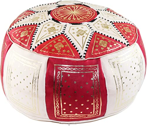 GRAN Red and Beige Handmade Leather Moroccan Pouf Footstool Ottoman