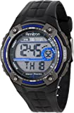 Armitron Men's Blue Accented Digital Chronograph Black Resin Strap Watch