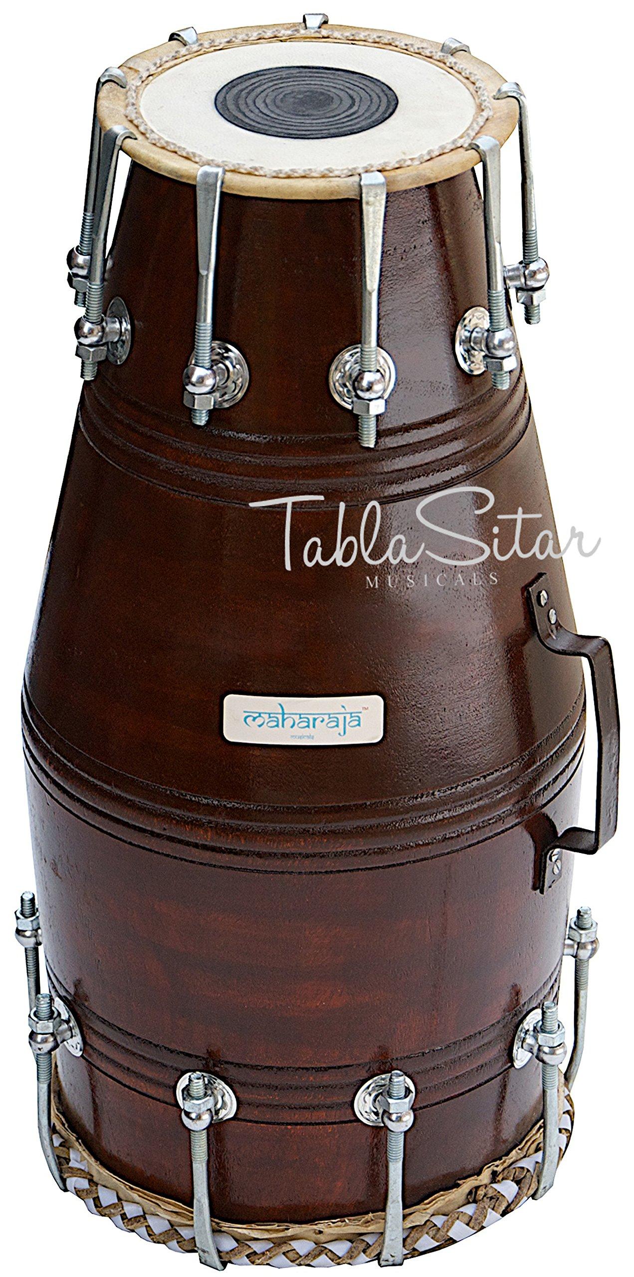 Naal Dholak Drum by Maharaja Musicals, Professional, Sheesham Wood, Bolt-tuned, Padded Bag, Dholak Musical Instrument (PDI-EF)