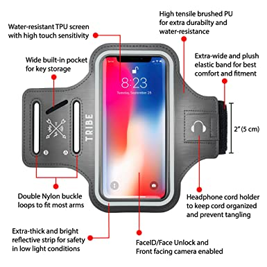 0517a2564d Amazon.com  TRIBE Water Resistant Cell Phone Armband Case for iPhone ...