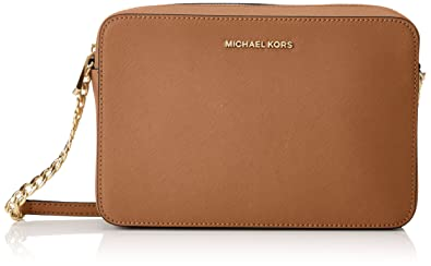 22203abf1002 Michael Kors Women's Jet Set Crossbody Leather Bag - Acorn: Handbags ...