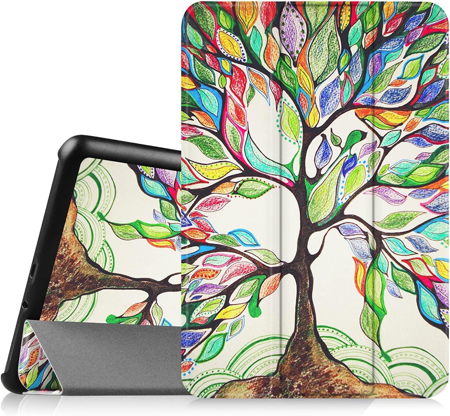 Fintie Slim Shell Case for Samsung Galaxy Tab 4 8.0 (8-Inch) Case - Ultra Lightweight Protective Stand Cover with Auto Sleep/Wake Feature, Love Tree