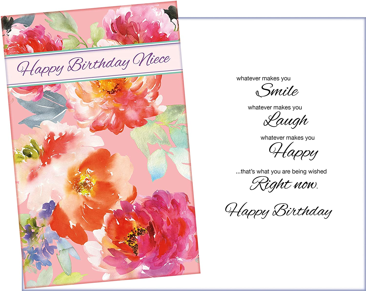 Birthday Card For Niece.Prime Greetings Floral Happy Birthday Greeting Card For Niece