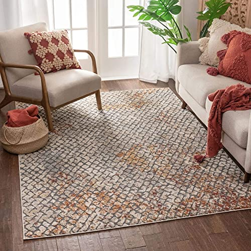 Well Woven Larmont Grey Red Dots Geometric Pattern Area Rug 8×10 7'10″ x 10'6″