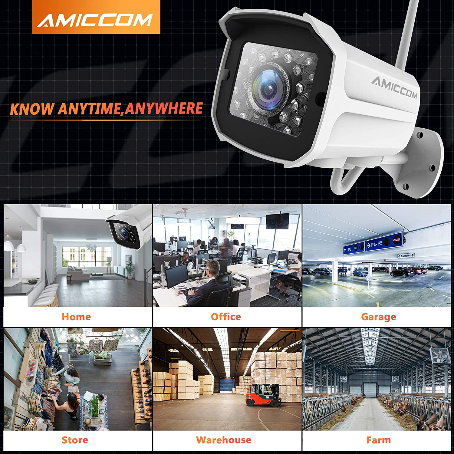 Outdoor Security Camera, 1080P WiFi Camera Surveillance Cameras, IP Camera with Two-Way Audio, IP66 Waterproof, Night Vision, Motion Detection, Activity Alert, Deterrent Alarm - iOS,Android