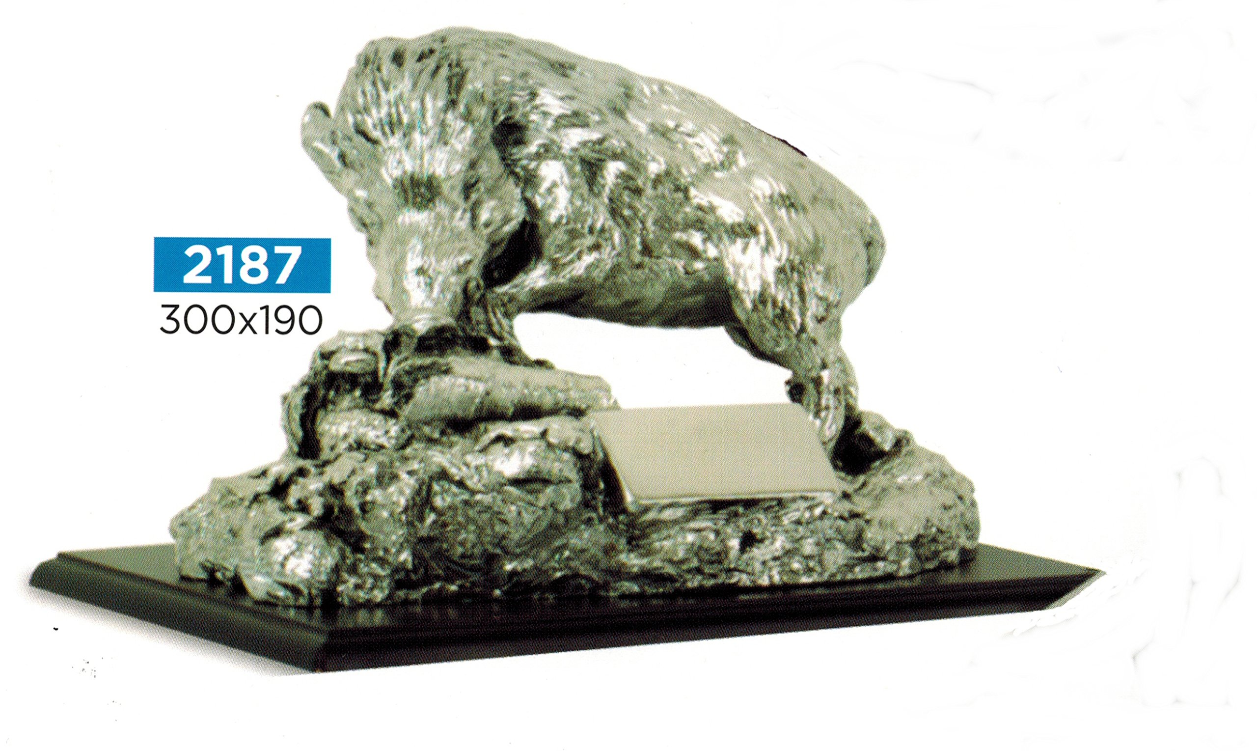 Trophy for award ceremony Statue Wild Boar on Rock – 30 x 19 cm – Finished – Made in Italy – Gift Idea