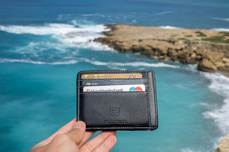 7f11bd76b3 TRAVANDO ® Magic Portafoglio con tasca porta monete VEGAS Portafoglio Uomo  piccolo Portafoglio sottile Mini Portafogli ingrandisci