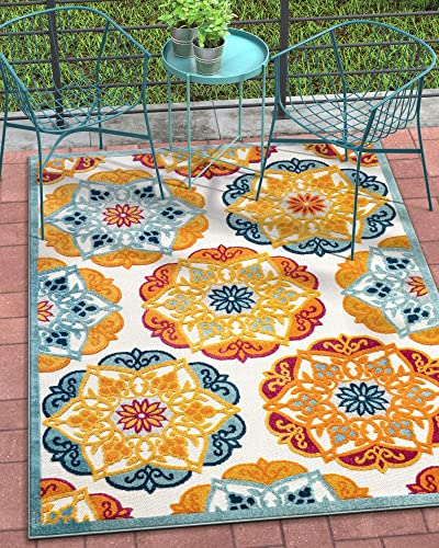 Well Woven Francesca Bright Multicolor Indoor Outdoor Medallion Floral Pattern Area Rug 5×7 5 3 x 7 3