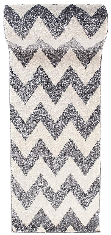 Läufer Teppich Brücke Teppichläufer - Modern Zic Zack - Flur Designer Muster Meterware - Casablanca Kollektion von Carpeto - Weiß Grau - 80 x 450 cm