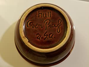 Vintage Hull Brown Drip Oven Proof Fruit Dessert (sauce) Bowl, 6 1/2 diameter