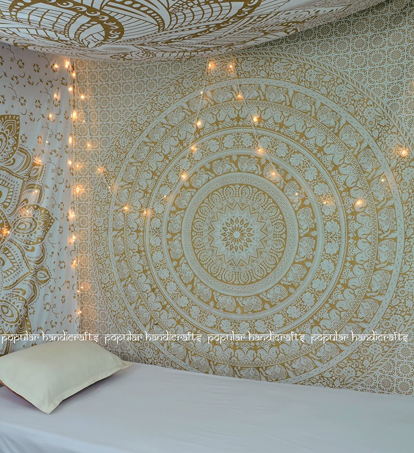 Popular Handicrafts New Launched Popular Original Gold Elephant Tapestry Indian Mandala Wall Art, Hippie Wall Hanging, Bohemian Bedspread with Metallic Shine King Size Tapestries Exclusively