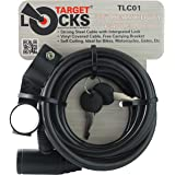 TARGET LOCKS® 1.8M Bicycle Cable Lock - 10mm Thick - Water Resistant