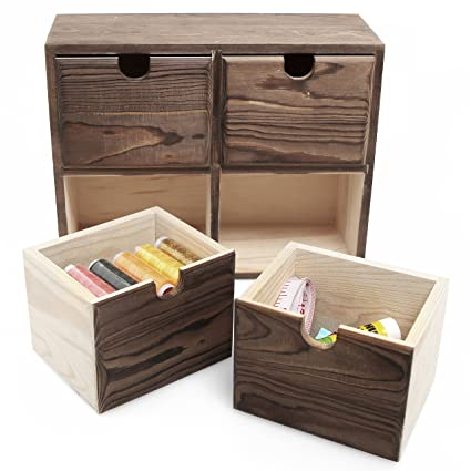 MyGift Decorative Mini Wooden 4 Drawer Desktop Cabinet Box, Dresser Top  Jewelry Storage Chest,