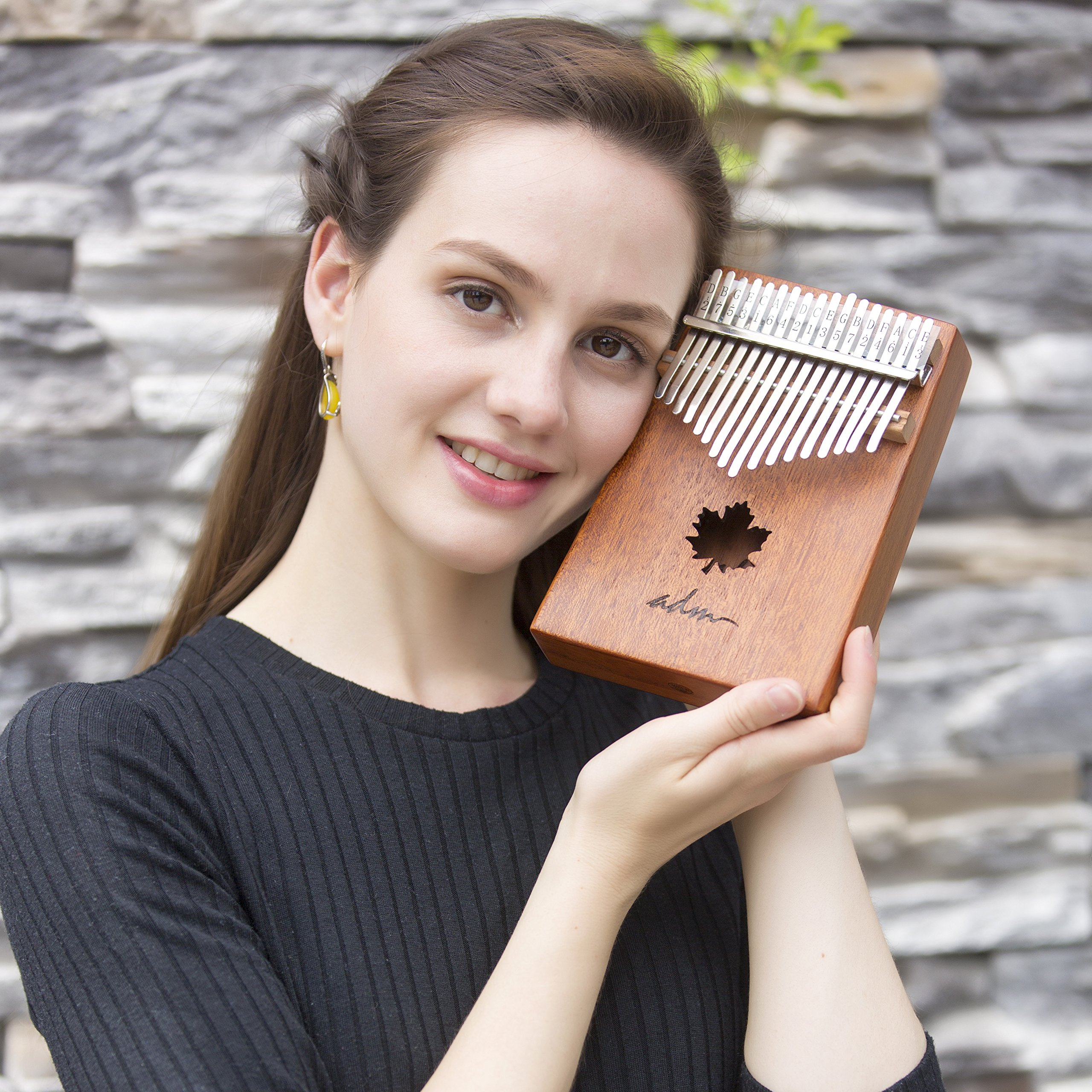 ADM Thumb Piano 17 keys Kalimba African Mahogany Mbira Maple Leaf Sound Hole with Music Book Tune Hammer and Bag by ADM (Image #2)