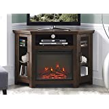 """WE Furniture 48"""" Wood Corner Fireplace Media TV Stand Console - Traditional Brown"""