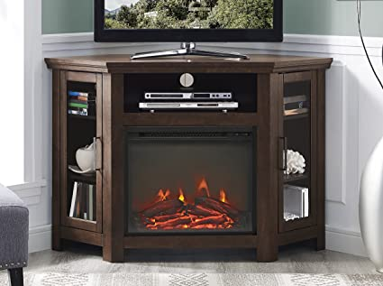 amazon com we furniture 48 wood corner fireplace media tv stand rh amazon com wood corner fireplace designs wood burning corner fireplace