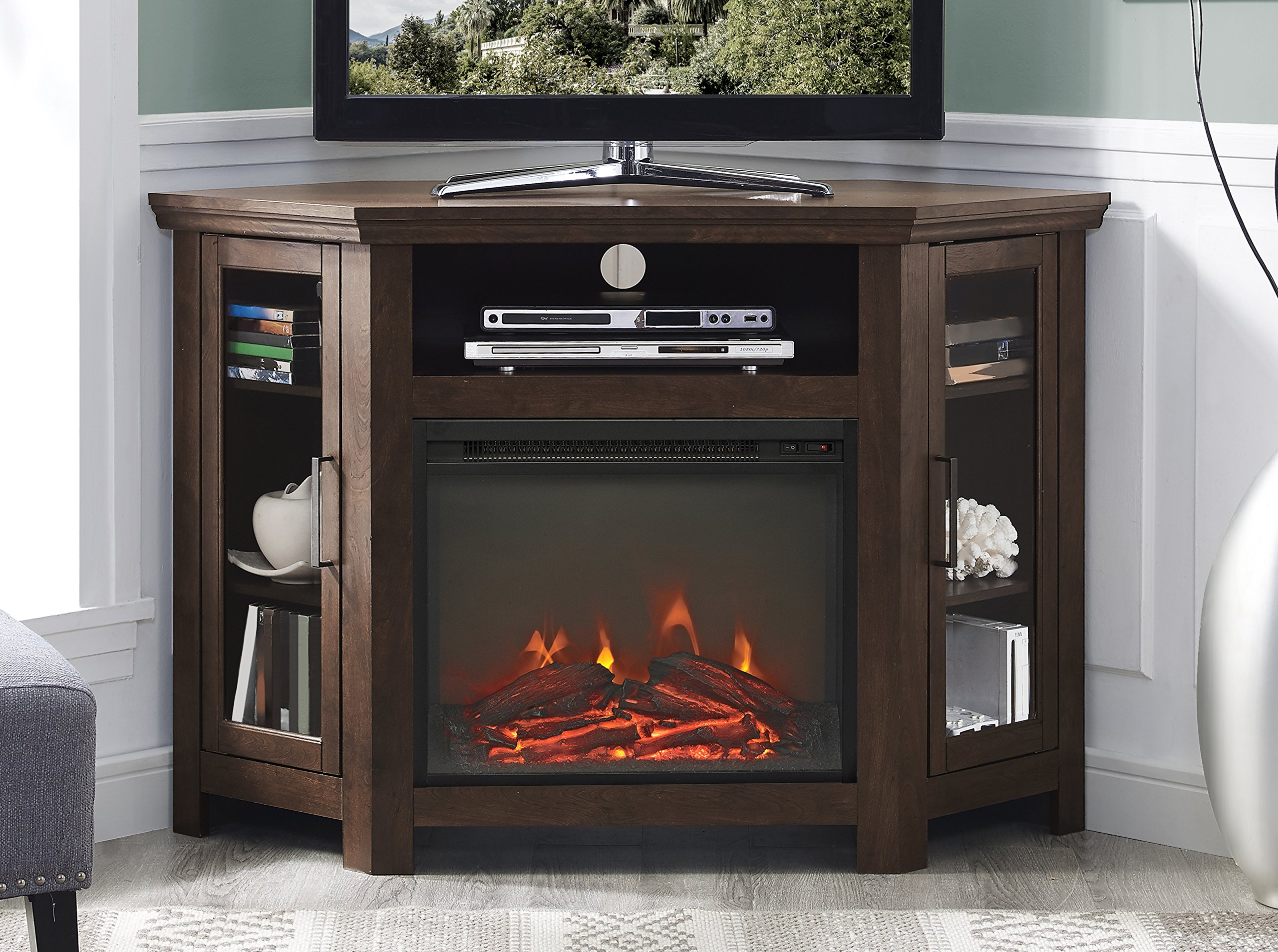 WE Furniture 48'' Wood Corner Fireplace Media TV Stand Console - Traditional Brown