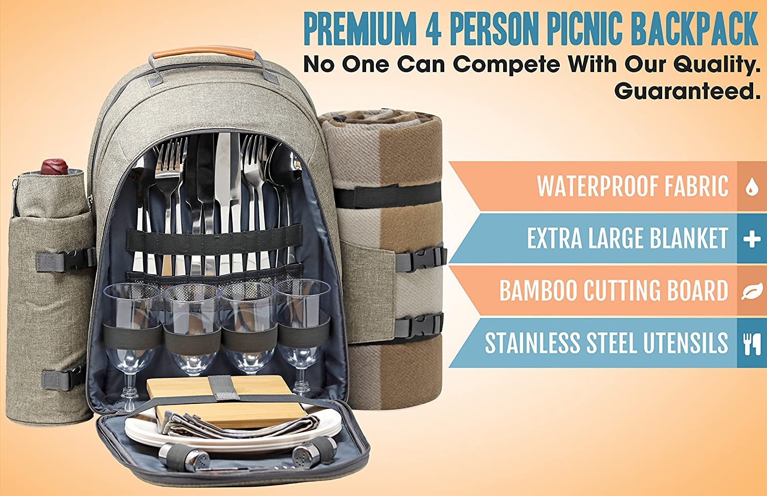 0cdf6707578 Amazon.com   One Earth Home 4 Person Picnic Backpack with Solid Stainless  Steel Utensils, Oversized Water Resistant Fleece Blanket, Cooler  Compartment, ...