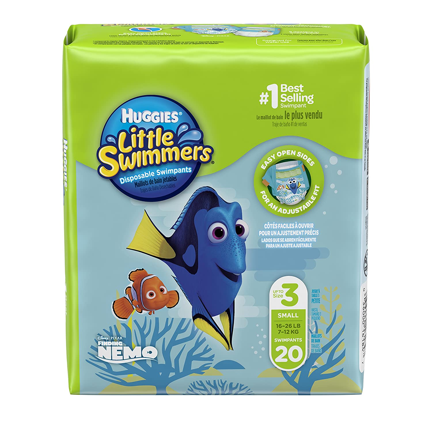 Huggies Little Swimmers Disposable Swim Diapers, Swimpants, Size 3 Small (16-26 lb.), 20 Count (Packaging May Vary) 16184