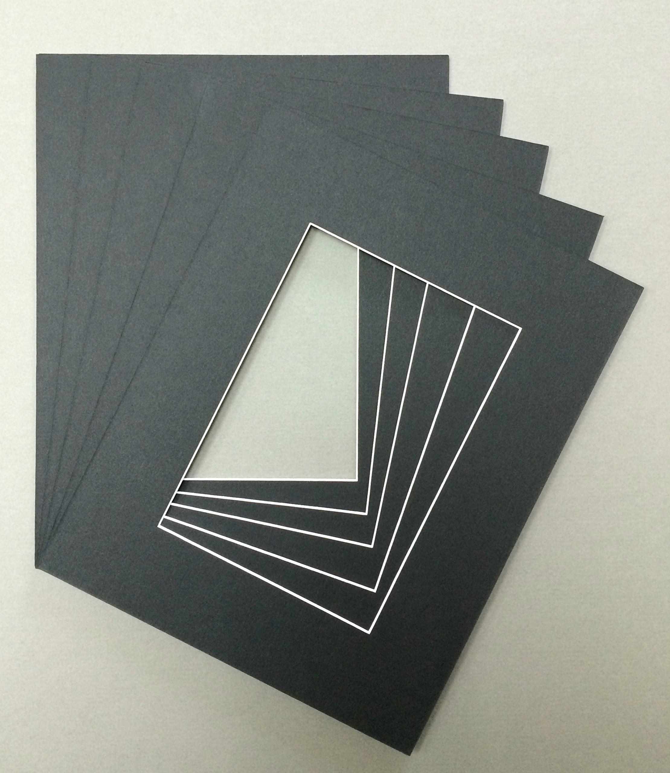 Pack of 5 24x36 Black Picture Mats with White Core, for 20x30 Pictures