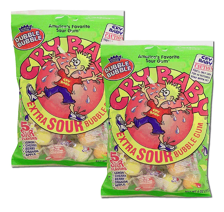 Dubble Bubble, Bubble Gum Cry Baby Extra Sour Candy (4 Ounce Bag) (2 Pack)