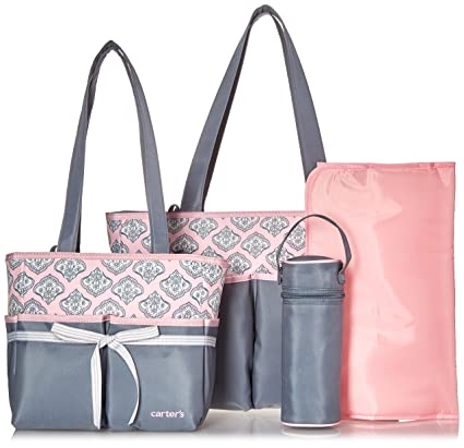 63e04f103cb4a Buy carter s Baby Diaper Bag Set For Women - Grey Pink Online at Low Prices  in India - Amazon.in