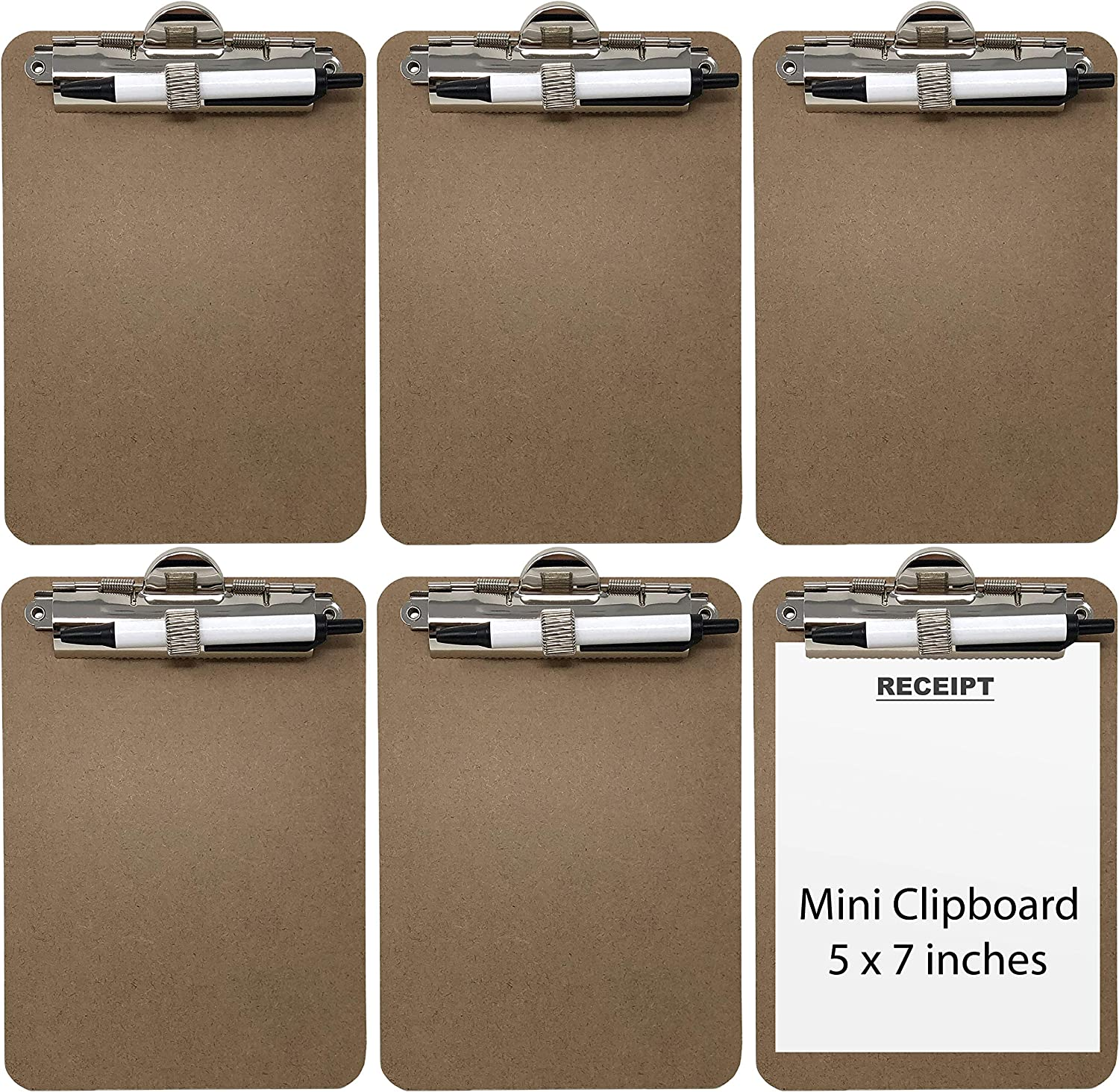 Trade Quest Mini Clipboard 5'' x 7'' Pen Holder Clip (Pen Included) (Pack of 6)