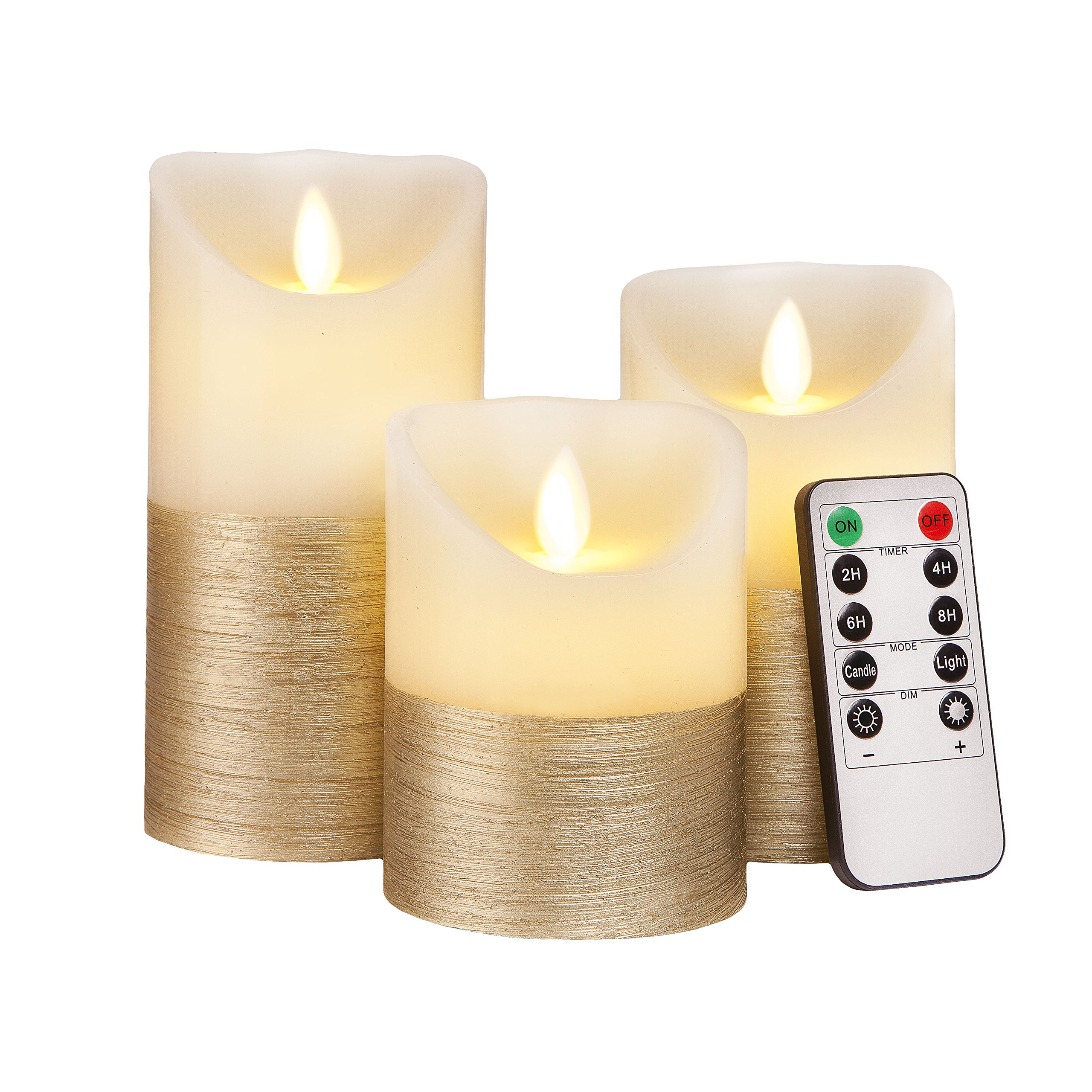 LUMINICIOUS™ Flameless Candles with Luxurious Gold Trim | LED Battery Operated with Remote Control & Timer | Stunning Life-Like Flickering Flame | Real Wax Set of 3 (Size 4''5''6'') | Perfect Gift