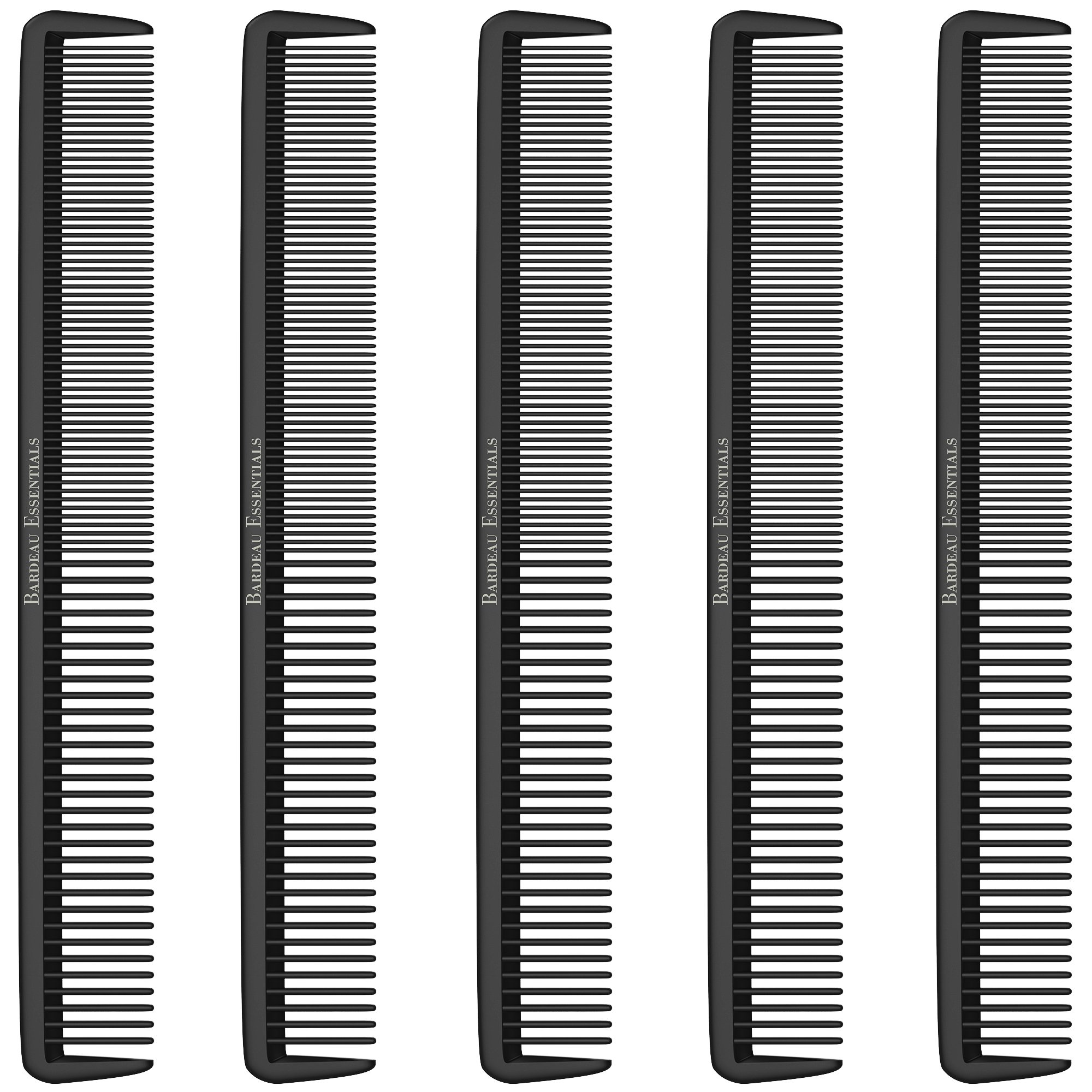 """Styling Comb (5 Pack) - Professional 8.75"""" Black Carbon Fiber Anti Static Chemical And Heat Resistant Hair Combs For All Hair Types For Men and Women - By Bardeau Essentials"""