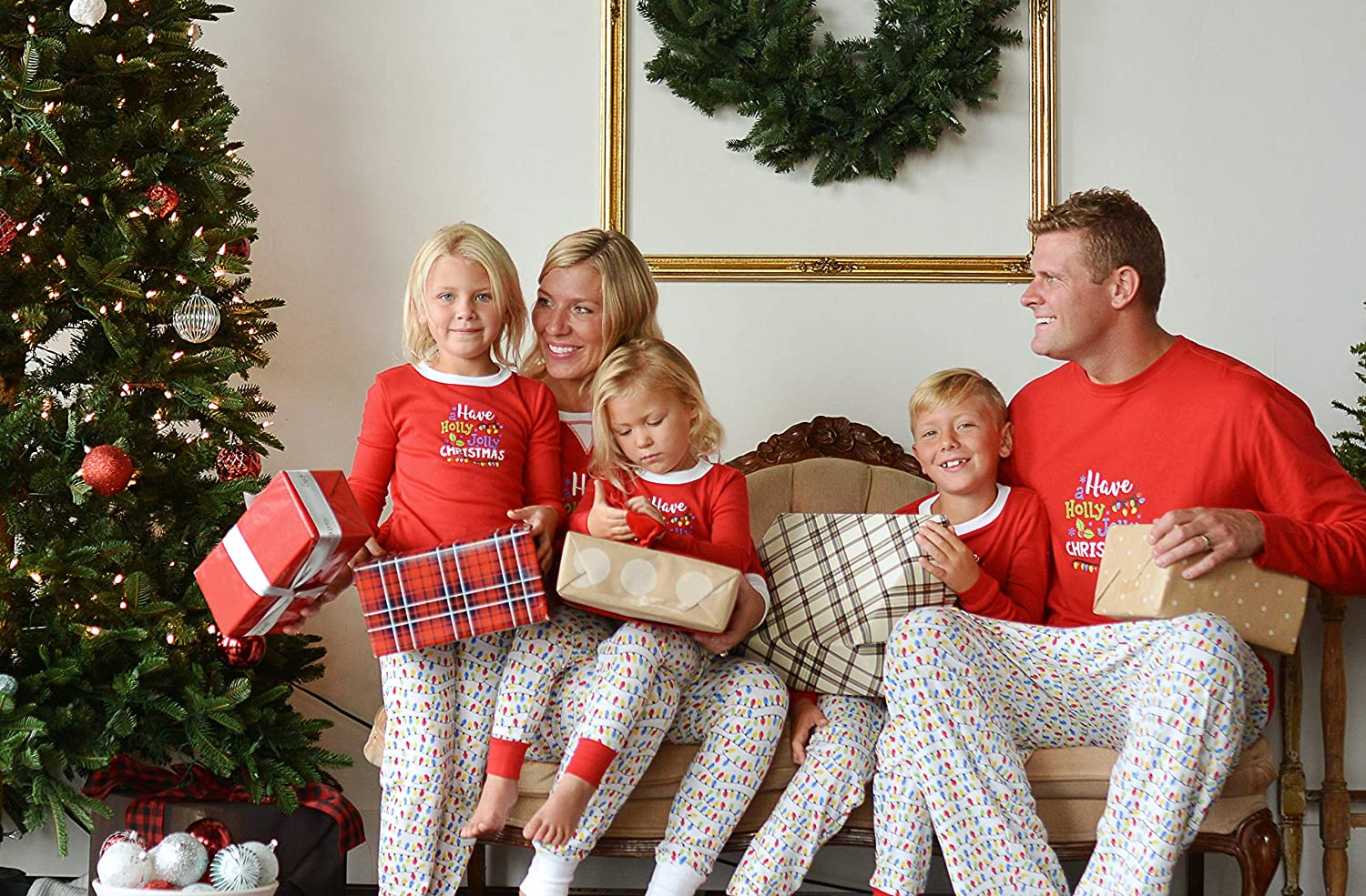 94473bc022 Amazon.com  Sleepyheads Family Matching Holly Jolly Christmas Lights Pajama  PJ Sets  Clothing