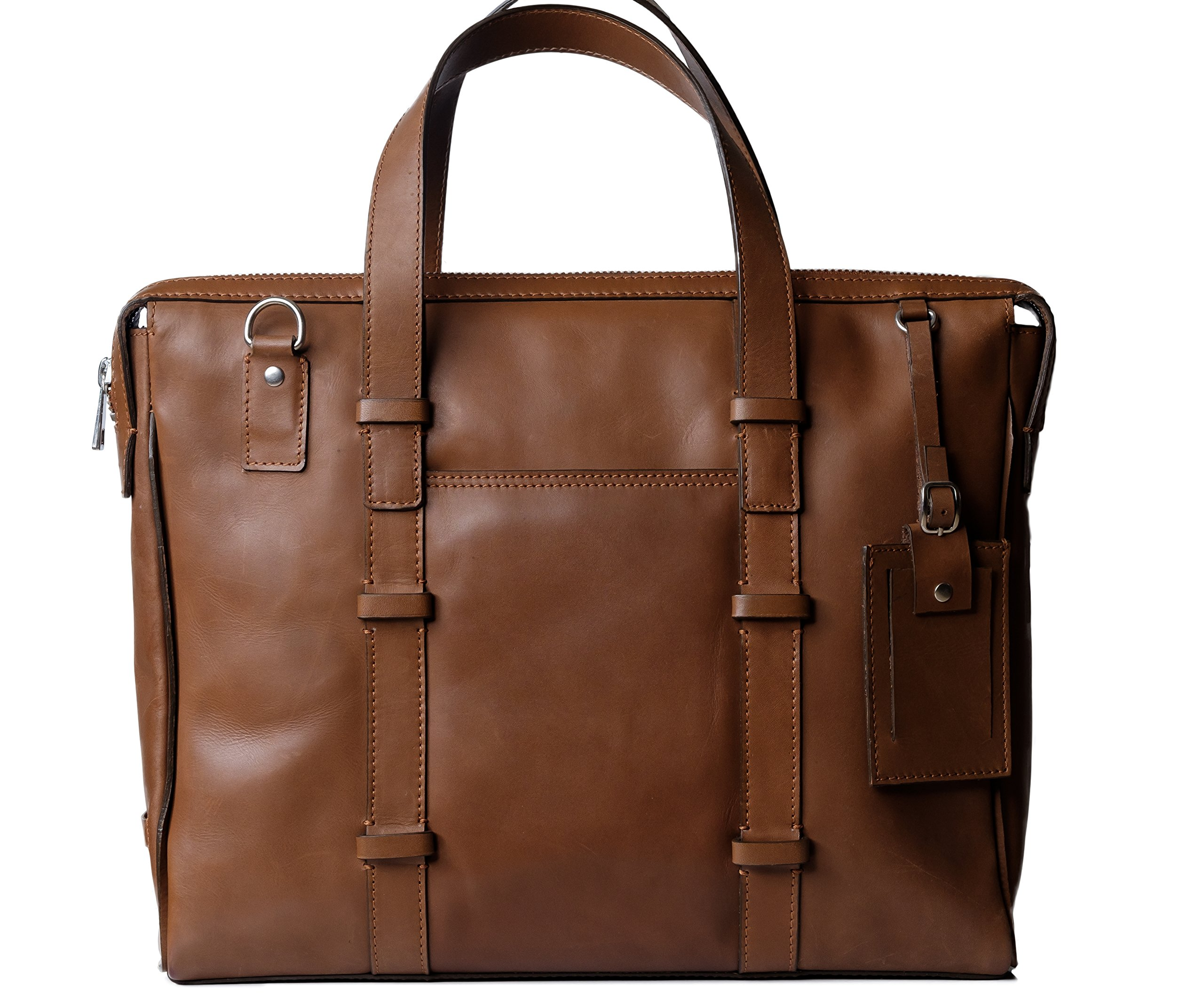 Genuine Leather Laptop Messenger Bag/Handbag for Men & Women, BAILEY, Compact Executive Bag fits 15.4 inch Laptop, 15 inch by 12 inch by 3 inch (Brown) by Ladderback by Ladderback (Image #1)