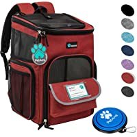 PetAmi Pet Carrier Backpack for Small Cats, Dogs, Puppies | Ventilated Structured Frame, 4 Way Entry, Safety and Soft Cushion Back Support | Collapsible for Travel, Hiking, Outdoor (Red)