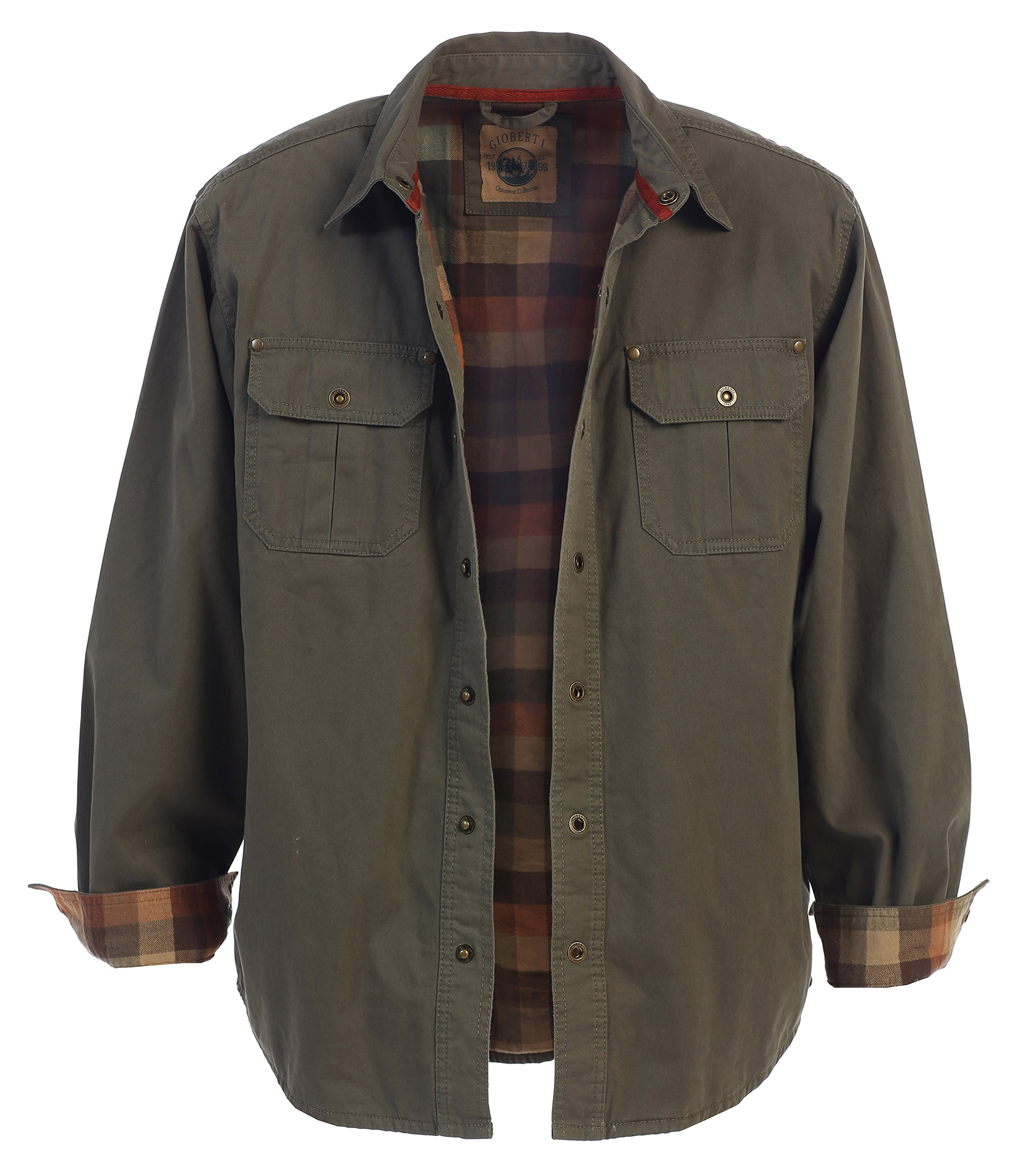 Gioberti Men's Brushed and Soft Twill Shirt Jacket with Flannel Lining, Olive, L by Gioberti