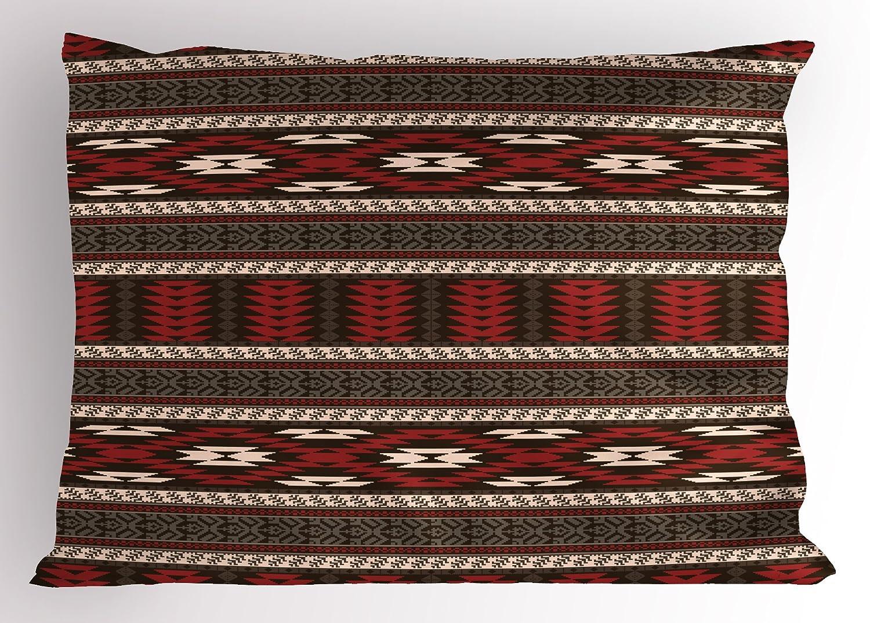 アステカPillow Sham by lunarable、Old Fashionedアンティークデザインプリミティブ文化アートジグザグ三角形ストライプ、装飾標準Kingサイズ印刷枕カバー、ブラウンRubyホワイト 36